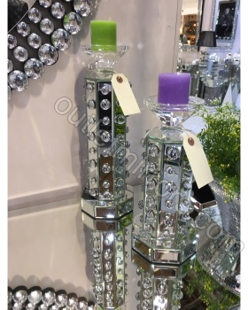 Crystal Bauble Mirrored Candle Holder medium