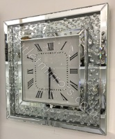 Floating Crystals Mirrored Square Clock 50cm x 50cm item in stock