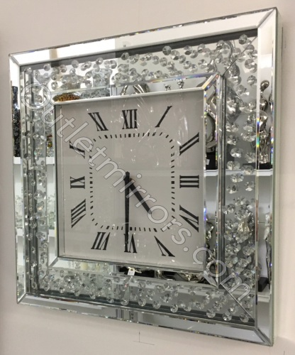 Floating Crystals Mirrored Square Clock 50cm x 50cm item instock