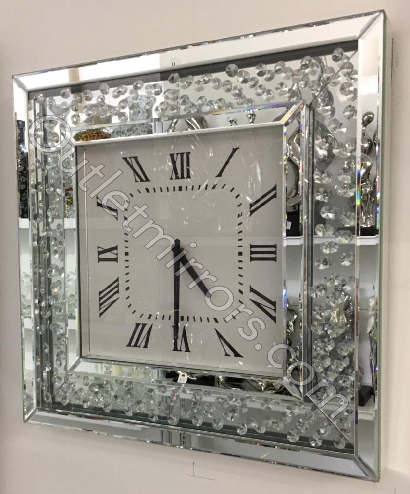Floating Crystals Mirrored Square Clock 50cm x 50cm item instock