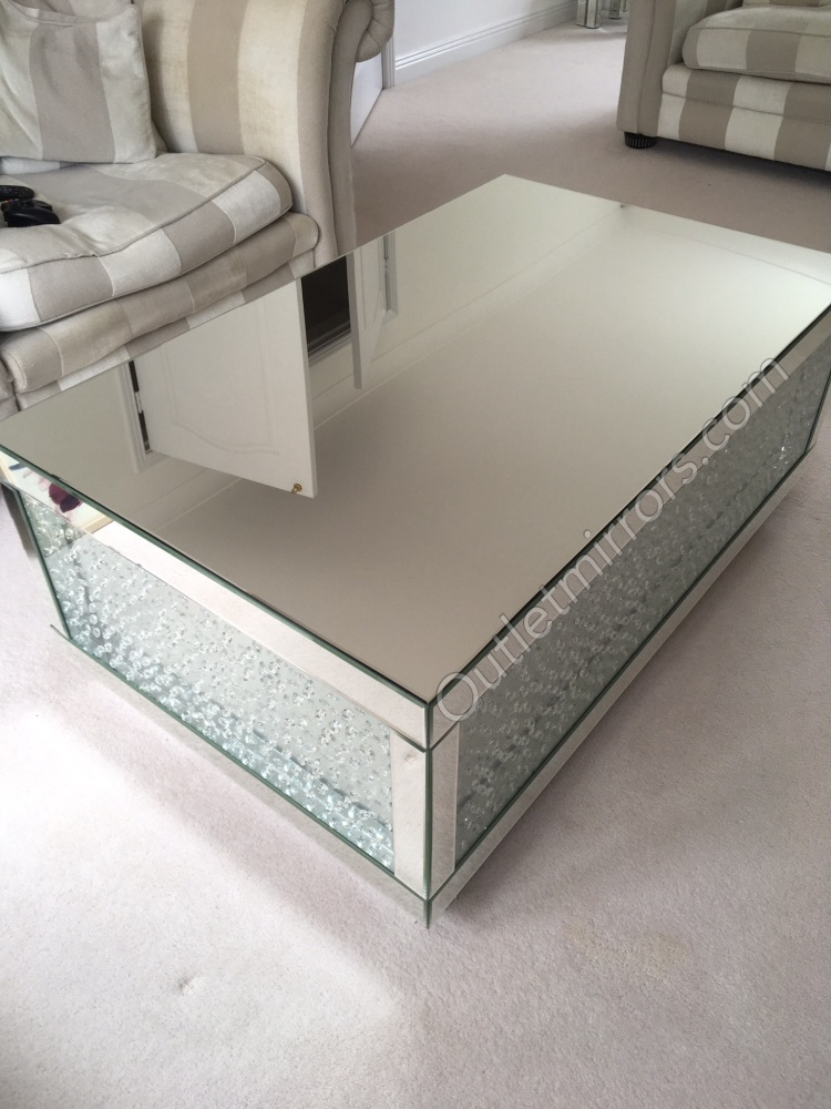 Floating Crystals Mirrored Coffee Table