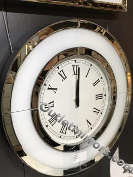 White Mirrored Round Wall Clock 50cm dia