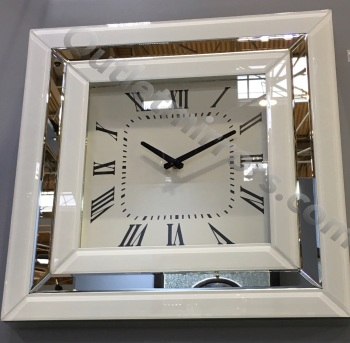 White Mirrored Wall Clock 50cm x 50cm