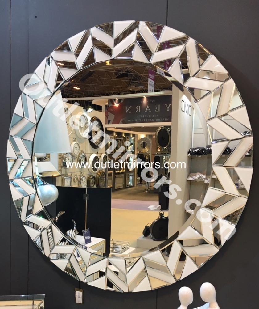 White Mirrored  Star Round Mirror 100cm dia