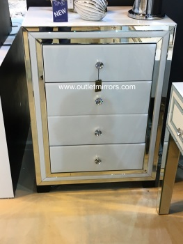 Atlanta White Mirrored 4 Draw chest