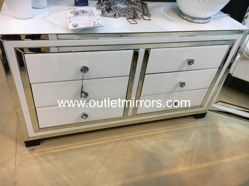 White Mirrored  6 Draw Large chest