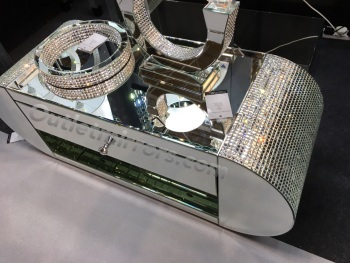 Mosaic Crystal Rounded Silver Mirrored Tv entertainment unit