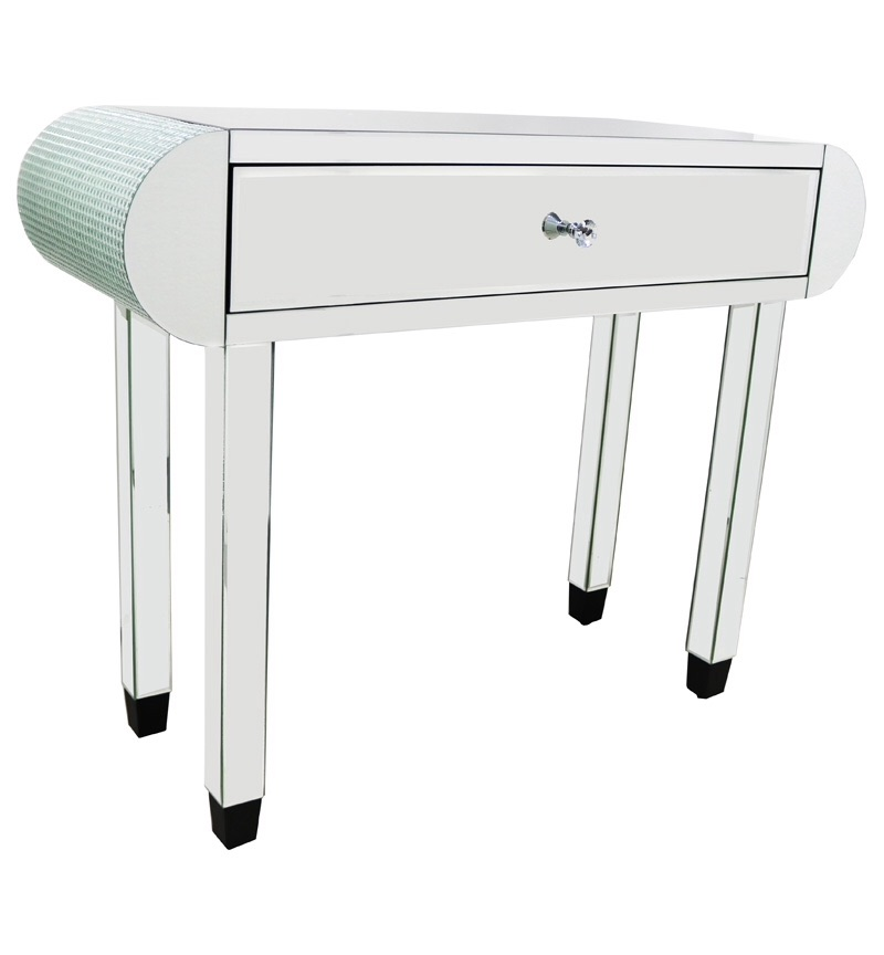 *Mosaic Crystal Silver 1 Draw Mirrored Console Table