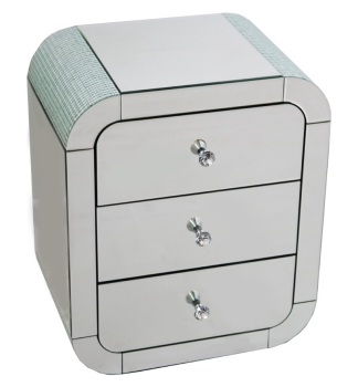 Mosaic Crystal Silver Rounded 3 Draw Chest of Drawers