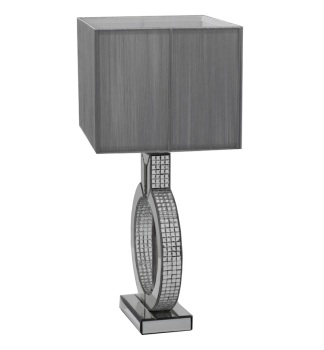 Mosaic Crystal Silver Mirrored Table Lamp with Silver Grey Shade