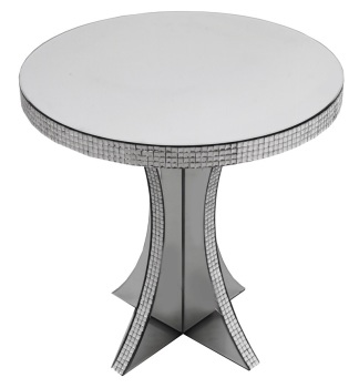 Mosaic Crystal Silver Round Lamp Table