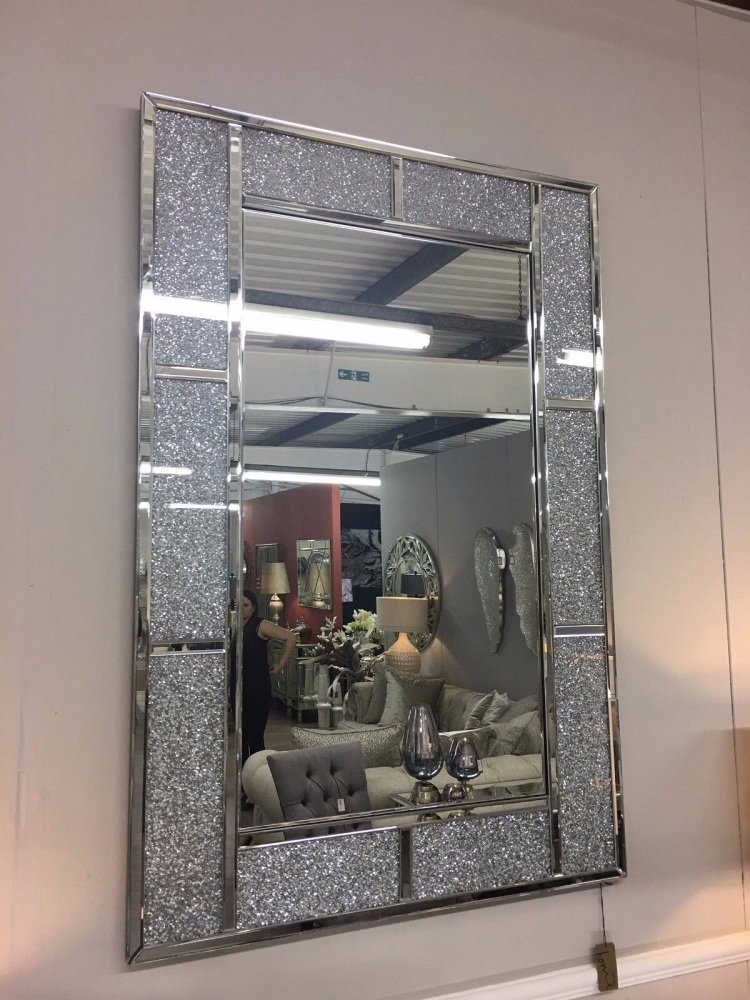 * New Crush Sparkle Bricks Crystal Wall Mirror 120cm x 80cm