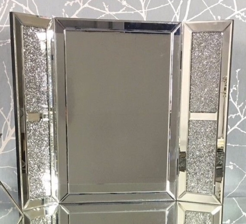 *Special Offer Diamond Crush Sparkle Milano Silver Tri fold Mirror 67cm x 5
