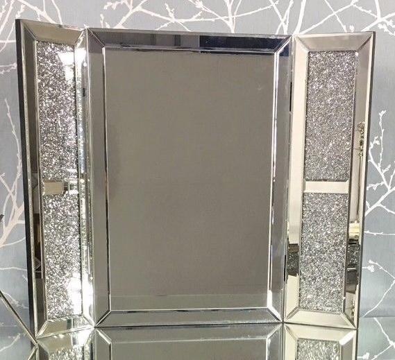 *Special Offer Diamond Crush Sparkle Milano Silver Tri fold Mirror 67cm x 5