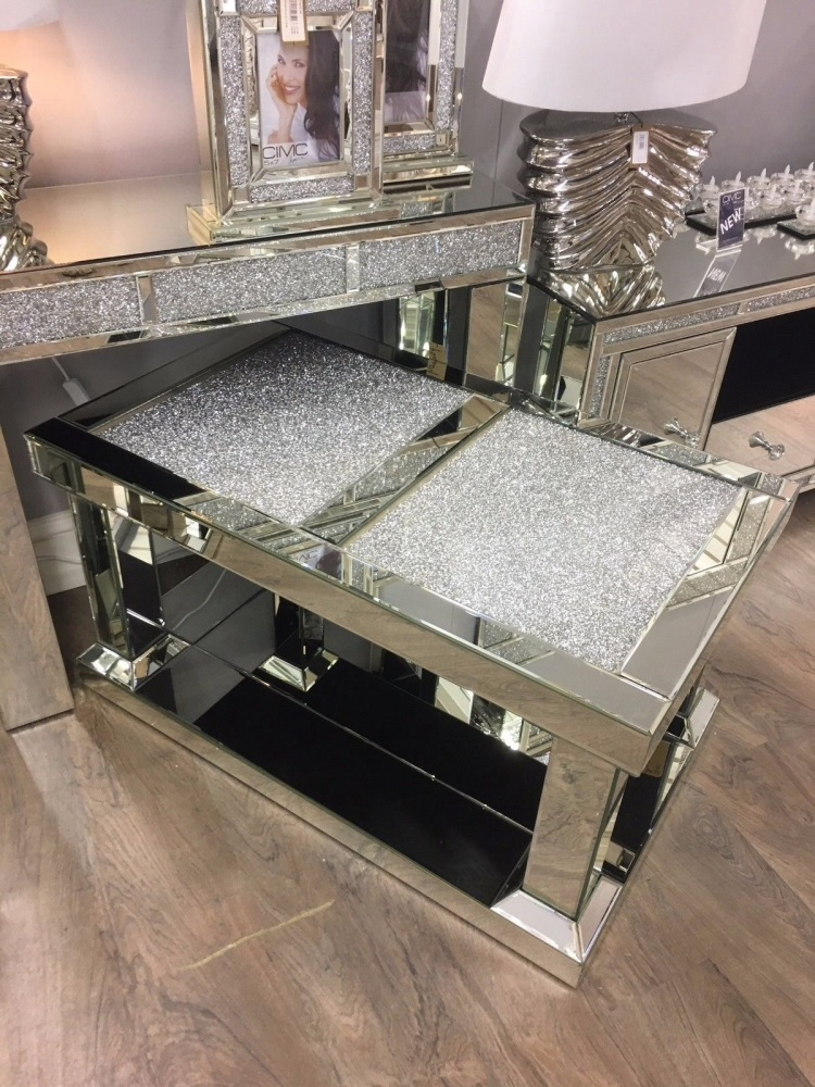 New crush sparkle mirrored coffee table 52cm high x 60cm wide x 100cm length Wide coffee table