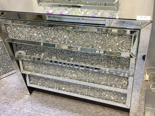 Crush Sparkle Crystal Mirrored 4 draw Chest