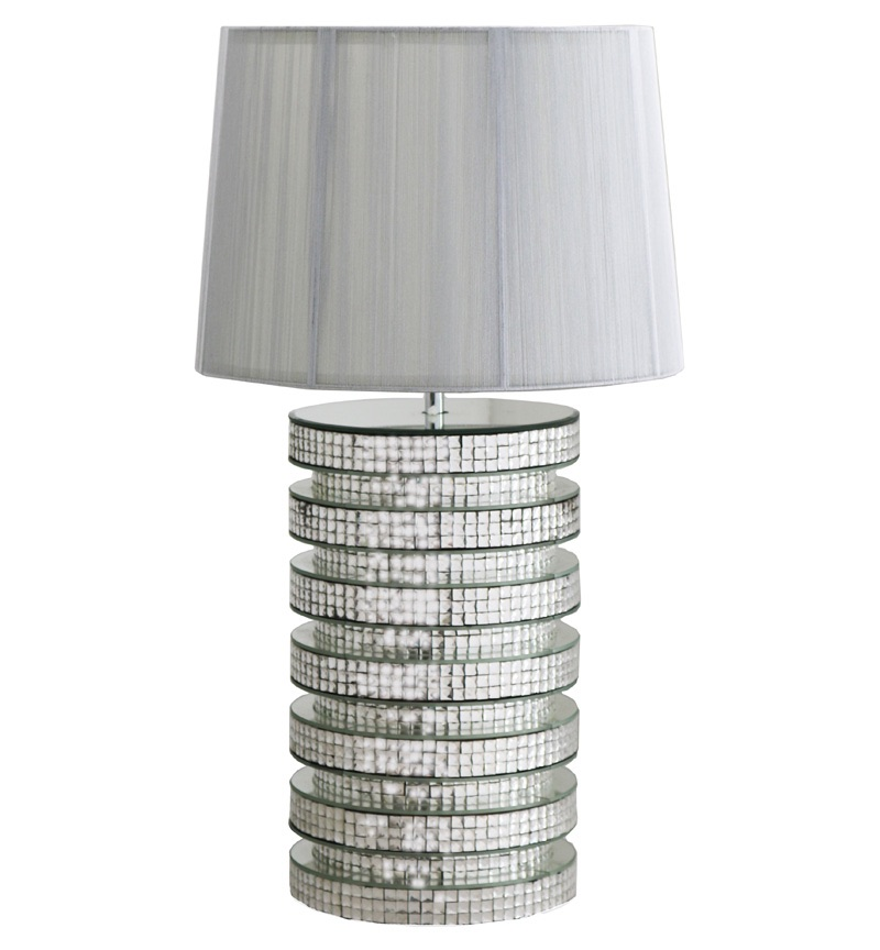 Mosaic Crystal Silver Mirrored Rounded Table Lamp with Silver Grey Shade