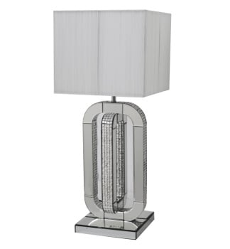 Mosaic Crystal Silver Mirrored Curve Table Lamp with Silver Grey Shade