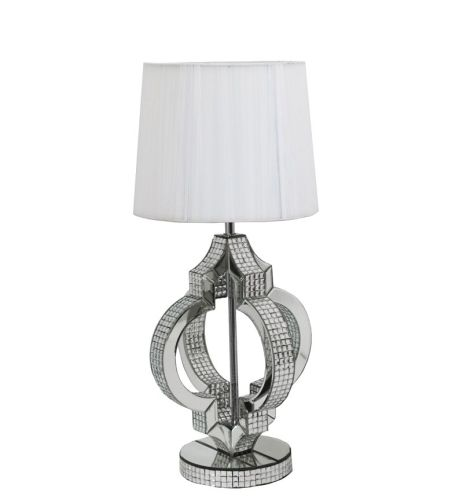Mosaic Crystal Silver Mirrored Shaped Table Lamp with Silver Grey Shade