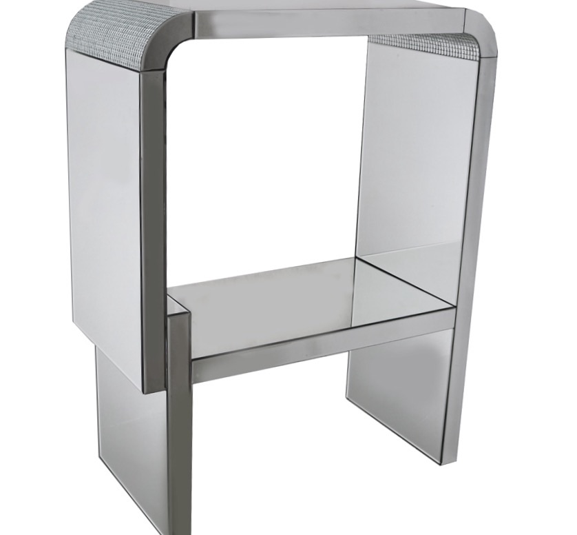 Mosaic Crystal Silver Mirrored Rounded Display Stand