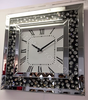 Black Jewel Floating Crystal Wall Clock 50cm x 50cm