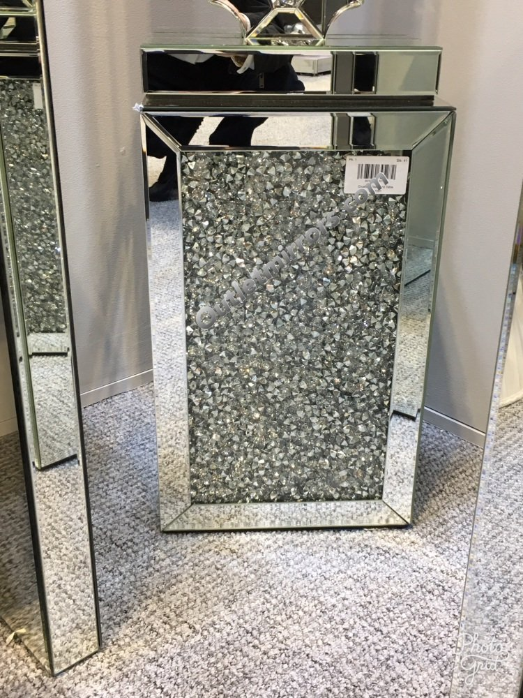 Diamond Crush Sparkle Mirrored Lamp Table