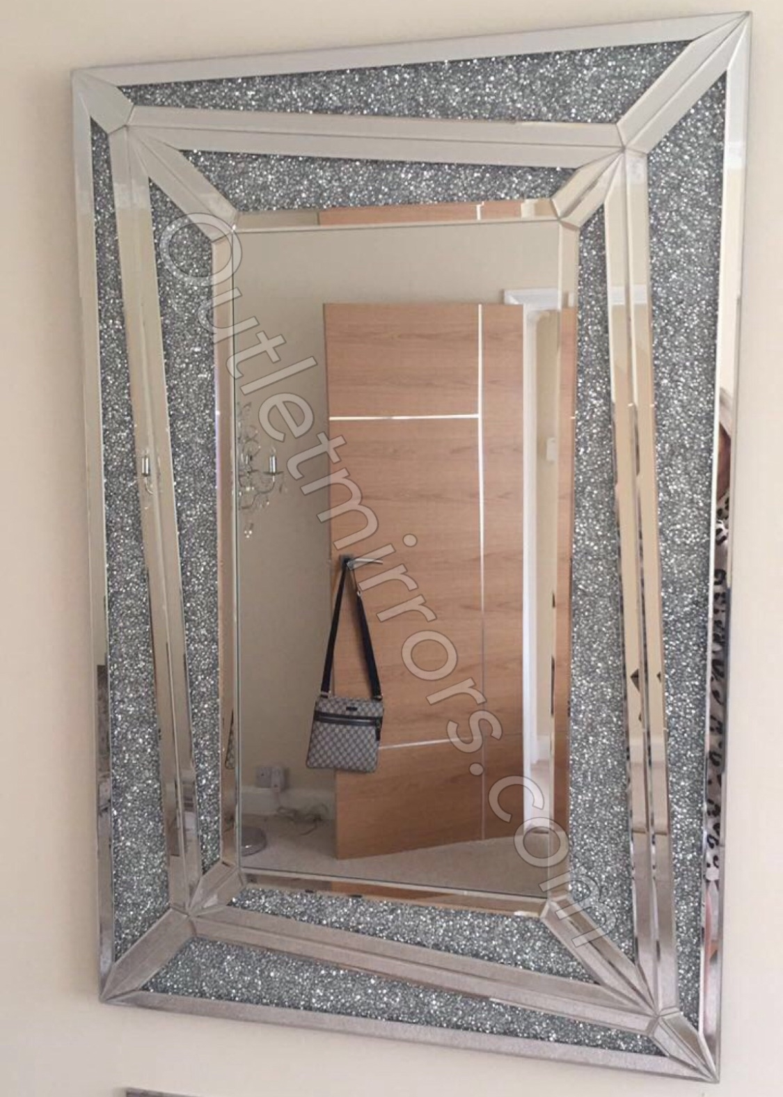 New Diamond Crush Sparkle Marissa Wall Mirror 120cm X