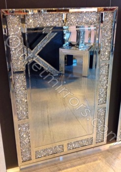 * New Diamond Crush Sparkle Bricks Crystal Wall Mirror 120cm x 80cm item in stock
