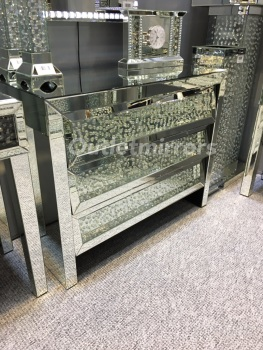 Floating Crystals Mirrored Chest of Drawers Large
