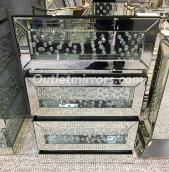 Floating Crystals Mirrored Chest of Drawers Medium