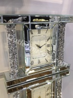 * New Diamond Crush Sparkle Crystal Mirrored Pillar Mantle Clock - item in stock