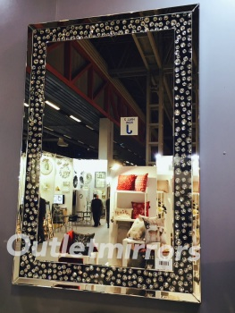 Jewel Floating Crystal Rectangular Wall MIrror 120cm x 80cm