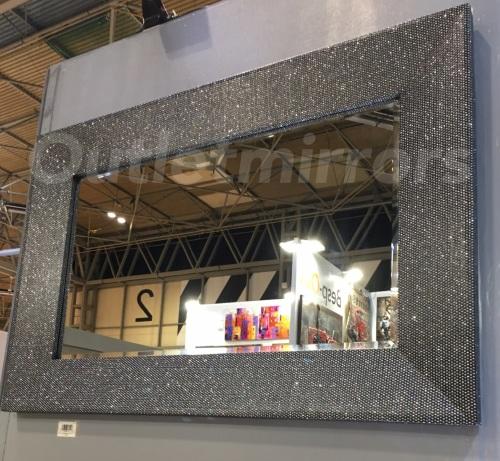 Glitter Wall Mirror in charcoal Black 120cm x 80cm