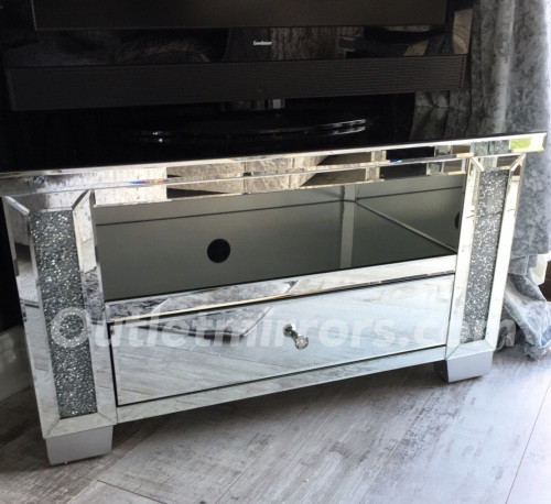 Diamond Crush Crystal Sparkle Mirrored TV Entertainment Unit low