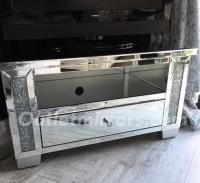 * Diamond Crush Sparkle Mirrored TV Corner Entertainment Unit low -
