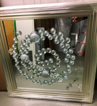 Jake Johnson Sparkle Glitter Ball wall art on a mirror with stepped frame item In stock