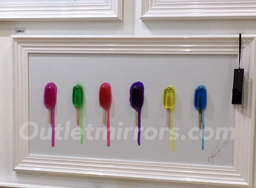 Jake Johnson 3D colourful Sticky Lollies wall art on a white gloss backgrou