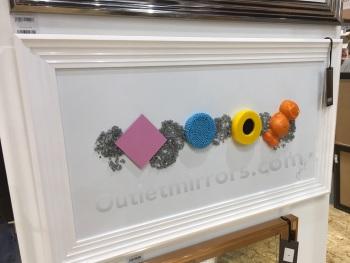 Jake Johnson 3D colourful Liquorice Allsorts wall art on a white gloss background white stepped frame