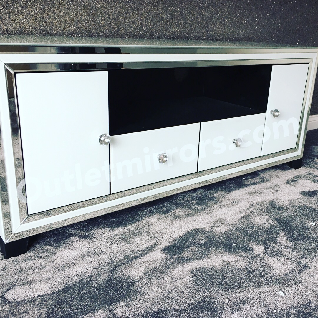 luxury Modern Silver & White Extra Large Mirrored Tv Base Unit