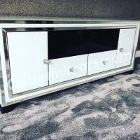 "Metro luxury Modern Silver & White Extra Large Mirrored Tv Base Unit fits 65"" tv"