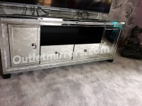 "Extra large Diamond Crush Crystal Sparkle Mirrored TV Entertainment Unit fits 65"" tv"