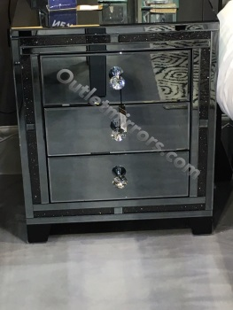 *Smoked Diamond Crush Sparkle Crystal Mirrored Milano  3 draw Bedside Chest
