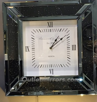 Smoked Diamond Crush Sparkle Crystal Mirrored Milano Clock 50cm x 50cm instock for a fast delivery