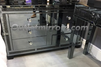 Smoked Diamond Crush Sparkle Crystal Mirrored Milano 6 draw Large Chest