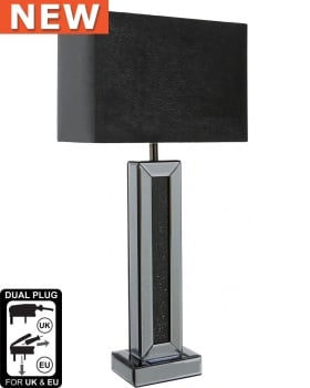 Smoked Crush Sparkle Mirrored Pillar Lamp with shade