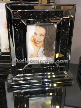 "Smoked Crush Sparkle Glitter Mirror Photo frame 5"" x 7"""