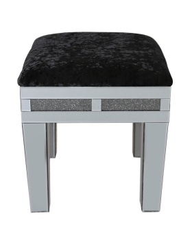 Smoked Diamond Crush Sparkle Mirrored Milano Stool