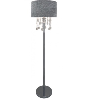 Versailles Chrome Floor Lamp with Silver Glitter Shade with Crystal cut Glass Droplets