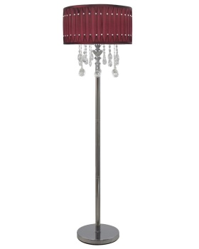 Versailles Chrome Floor Lamp with Deep Velvet Red pleated Shade with Crystal cut Glass Droplets