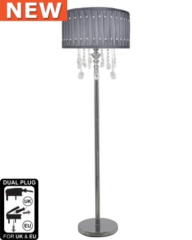 Versailles Chrome Floor Lamp with Grey pleated Shade with Crystal cut Glass Droplets